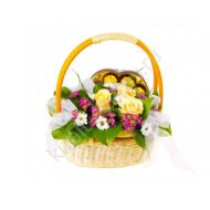 Basket with roses and Ferrero Rocher