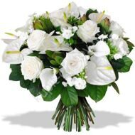 Bouquet of white anthuriums