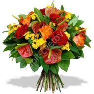 Bouquet of anthuriums and roses