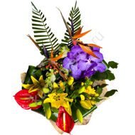 Arrangement with anthurium and Strelitzia