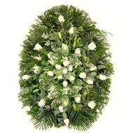 Funeral wreath of white roses