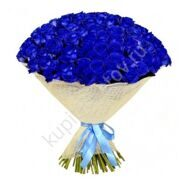 Bouquet of 101 blue roses in natural packaging