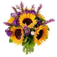 Bouquet of sunflowers and liatris