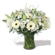 White bouquet of gerberas and chrysanthemums