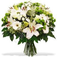 Bouquet of lilies and chrysanthemums