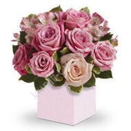 Arrangement of roses in a box