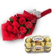 Bouquet of Red Roses + Ferrero Rocher