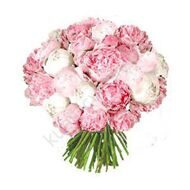 Bouquet  of white and pink peonies