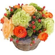 Arrangement of roses and carnations
