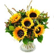 Bouquet of sunflowers and hypericum