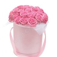 Pink hat box of roses