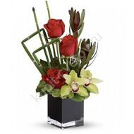 Arrangement of roses and orchids