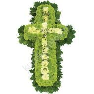 Ritual cross of chrysanthemums