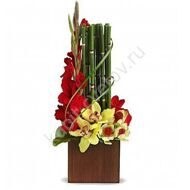 Arrangement of gladioluses and orchids