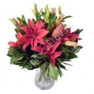 Bouquet of crimson lilies