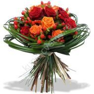Orange bouquet of roses