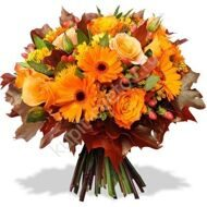 Autumn bouquet of gerberas and roses
