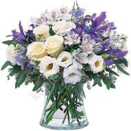 Bouquet of irises and eustomas