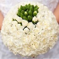 Wedding bouquet of white carnations
