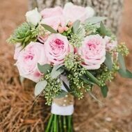 Wedding bouquet with Austin roses