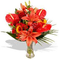 Bouquet of red anthuriums and lilies