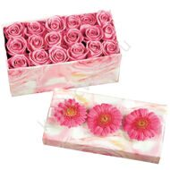 Pink box of flowers