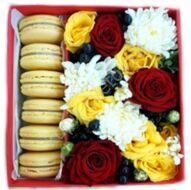 Yellow and red box with macaroon