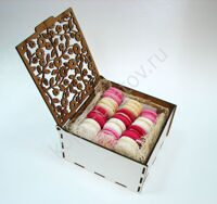 Box of pink and white macarons S