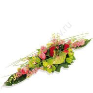Arrangement with anthurium and orchids