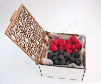 Casket with raspberries and blackberries