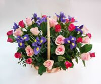 Basket with roses and irises
