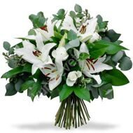 Bouquet of lilies and eucalyptus