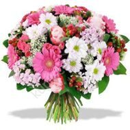 Pink bouquet of gerberas and chrysanthemums