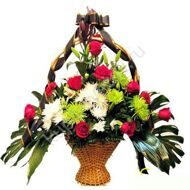 Funeral basket of chrysanthemums