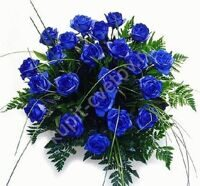 21 blue roses with greenery