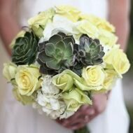 Wedding bouquet with roses and succulentus