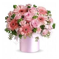 Arrangement of gerberas and roses