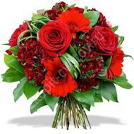 Bouquet of red roses  and gerberas