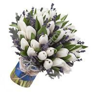 Bouquet of tulips with lavender
