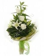 Inexpensive bouquet of lilies and roses