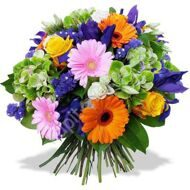 Bouquet of gerberas and irises