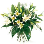 Bouquet of white lilies and aspidistras