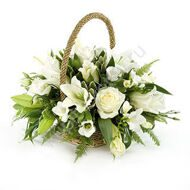 Basket of roses and freesias