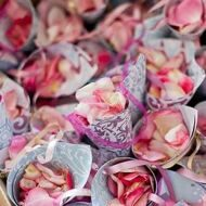 Wedding bags with rose petals